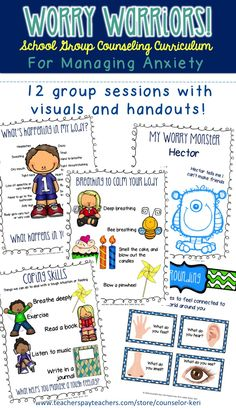 Group counseling curriculum for helping upper elementary students manage worries and anxiety - from Counselor Keri