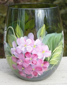 Items similar to Pink & White Hydrangeas Hand Painted Stemless Wine Glass on Etsy Wine Glass Crafts, Wine Bottle Crafts, Bottle Painting, Bottle Art, Painting On Glass Jars, Glass Painting Designs, Pebeo Porcelaine 150, Hand Painted Wine Glasses, Bottles And Jars