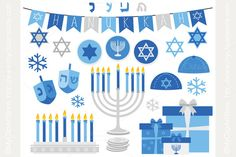 Clipart - Hanukkah (Silver) by MyClipArtStore on Creative Market
