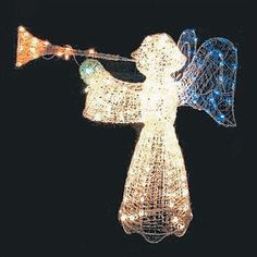 Light up your yard this season with this crystal-look angel with trumpet. Crystal Angel with Trumpet Lighted Christmas Yard Art Decoration - Multi-Color Lights. Wreaths and Garland. Patio Lawn and Garden. Christmas Yard Art, Hanging Christmas Lights, Holiday Lights, Outdoor Christmas, Christmas Angels, Diy Christmas, Merry Christmas, Christmas Light Installation, Crystal Decor