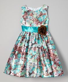 Look at this Teal Floral Bow Dress - Infant, Toddler