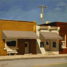 Karen Jurik.  I really love her work, reminds me a bit of some of Edward Hopper's pieces.