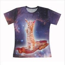 2015 New Galaxy Animal printing short sleeves men/women Bacon Cat 3D All Over Print T shirt Casual t shirt Free shipping(China (Mainland))