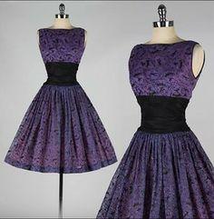 Vintage Purple glitter flocked dress