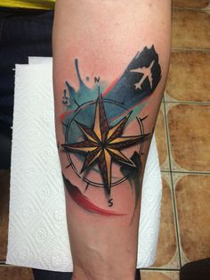Wind compass watercolor tattoo