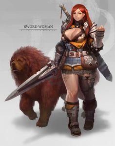 Dwarven female ranger #dwarf #rpg #d&d