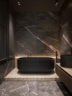 Granville on Behance Cheap Bathrooms, Amazing Bathrooms, Modern Bathroom Design, Bathroom Interior Design, Black And Gold Bathroom, Black Toilet, Built In Wardrobe, Suites, Apartment Design
