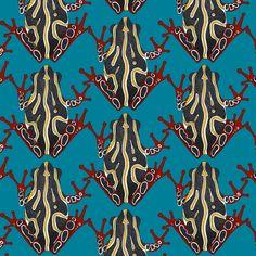 congo tree frog blue fabric by scrummy on Spoonflower - custom fabric