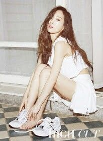 Snsd Taeyon for high cut magazine wearing Puma shoes on March issue