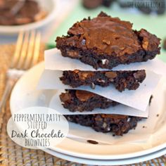 Peppermint Patty Stuffed Dark Chocolate Brownies