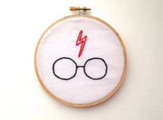 Harry Potter: Scar and Glasses Hand Embroidery in 5 Inch Hoop