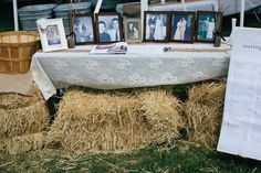 Entrance set up with straw bales and seating assignment
