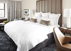 Guest Room at 5 star hotel: The Surrey Hotel. This hotel's address is: 20 East Street Upper East Side New York (NY) 10021 and have 190 rooms Nyc Hotels, New York Hotels, Hotel Deals, Luxury Hotels, Holidays In New York, Best Mattress, Modern Bedroom, Modern Bedding, Master Bedrooms