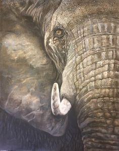 "My piece entitled ""grief"" Grief, Artworks, Elephant, Elephants, Art Pieces"