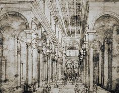 25 Filippo Brunelleschi (1377-1446) Perspective sketch for Santo Spirito Church in Florence, Italy. First to apply the concept of Linear Perspective effectively.