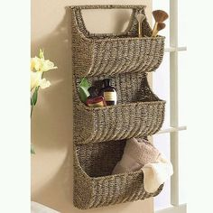 Seagrass 3 Tier Wall Basket - contemporary - wall shelves - Touch of Class: Basket Shelves, Baskets On Wall, Storage Baskets, Wall Shelves, Wall Basket, Book Shelves, Lined Wicker Baskets, Hanging Storage, Wall Storage
