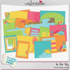 """In The Sky - digital scrapbooking Journaling Cards from Sunshine Inspired Designs. The """"In the Sky"""" kit is FULL of things that are at home in the sky - birds, butterflies, balloons and clouds. And now you can use this kit to scrap your latest flight of fancy or your sky-high dreams. This colorful kit will make your scrapbooking layouts pop."""