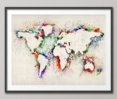 Trademark Fine Art World Map Canvas Art by Michael Tompsett, Floating Brushed Aluminum - - Ready to hangFramed presentationAvailable in various sizes. Watercolor World Map, World Map Painting, World Map Canvas, Painting Prints, Art Prints, Art Paintings, Painting Art, Abstract Paintings, Framed Prints