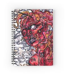 """""""Opiate Delirium Stationary"""" Spiral Notebooks by bunnycarnival    Cute Pastel Creepy Red Orange Yellow Trippy Drugs High Opium Delirium Sandman Comics Illustaration Pink Art Card Postcard Society6 Online Shop Watercolor Painting Ink Drawing Illustration Creepy Cute Goth Dope Cool Marijuana Comic Book Notebook Journal Art Sketchbook Cool Weird Unique Colorful Hipster Artistic"""