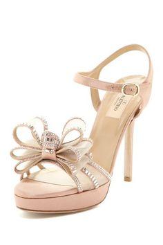 Designer Shoe Shop  Valentino Satin Sandal with Mesh Rhinestone Bow    $1,095.00  66% off  $368.00