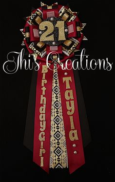 Tayla's 21st birthday pin/mum/corsage in burgundy, white, black, gold, and aztec... #JhisCreations