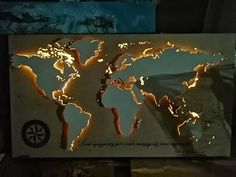 Maps of the world with led light Plywood Panels, Custom Map, Wood Paneling, Beautiful World, Colorful Backgrounds, Craft Supplies, Wall Decor, Handmade, Ambient Light
