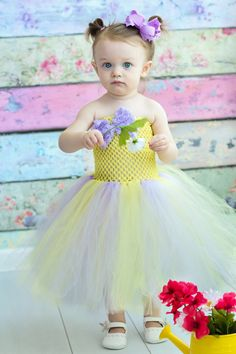 Newborn Size 5 Lavender and Baby Yellow Tutu by krystalhylton