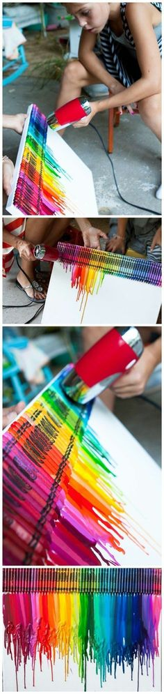 How To Make Colorful Melting Crayon Canvas Art / DIY Tag on imgfave Crayon Canvas Art, Melted Crayon Canvas, Diy Canvas Art, Painting Canvas, Crayon Painting, Diy Painting, Nursery Canvas, Decoration Creche, Pack Of Crayons