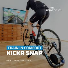 TRAIN IN THE COMFORT OF YOUR OWN HOME WITH Wahoo Fitness Kickr Snap!  The Wahoo KICKR SNAP brings a realistic ride experience indoors and into a wheel-on smart trainer. The SNAP's legendary flywheel features technology that creates the same resistance experienced in outdoor climbs and descents.  Plus, no other indoor bike trainer has more software training options, including Zwift and Trainer Road. Join the Wahoo Fitness family and become a part of the most connected cycling experience