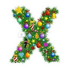 Letra X - árbol de Navidad decoración - Alfabeto  Vectores