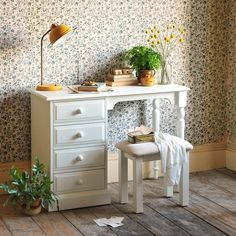 Burford Painted Dressing Table Set from The Cotswold Company  White dressing table, White Painted Furniture, Mustard Desk Lamp, Country Furniture, Country Bedroom Furniture, Country Living, Country Style Country Homes