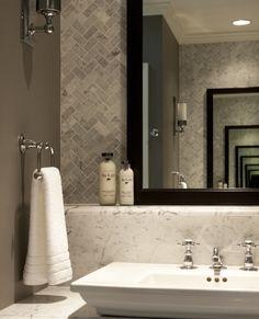 Herringbone tile backsplash for kitchen remodel, marble counters Wood Tile Floors, Dark Cabinets, Bathroom Renovations, Counter Tops, Backsplash, Porn, Countertops, Vanity Tops, Timber Flooring