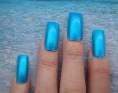 turquoise nail teal blue metalized set fake nails  glitter nail art drag queen false square witch sea fashion mermaid lasoffittadiste
