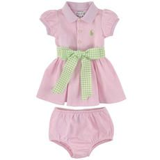 Ralph Lauren - Cotton piqué polo dress, knickers and gingham belt - Light pink - 109840