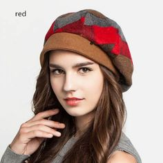 9cc7db6bc4f 2015 fashion plaid beret hat for women wool winter hats