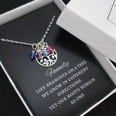 Family Tree Necklace with Birthstones by themoonflowerstudio