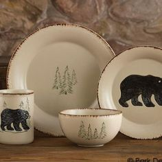 16 Piece Elk Country Square Dinnerware Set Stoneware Cabin Rustic Lodge Moose   Moose Elk and Stoneware & 16 Piece Elk Country Square Dinnerware Set Stoneware Cabin Rustic ...