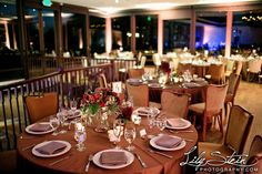 Fall Indoor Reception. The Grand Oak Steakhouse at Highland Springs Resort. Reception table decor. Lily Stein Photography