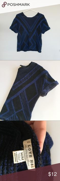 Blue and Black Chevron Knit Sweater Blue and Black Chevron Knit Sweater  Condition: Preowned but in excellent condition.  Color: Black and Blue  Type: 96% Acrylic / 4% Polyester  Size: Girls Medium  Brand: I love H81 i love h81 Shirts & Tops Sweaters
