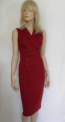 Sleeveless Button Detail Wrap Pencil Dress Bnwot Size 8 10 12 14 16 18 Red Wrap Dress, Theatre Design, Pencil Dress, High Neck Dress, Dresses For Work, Button, Detail, Shopping, Inspiration