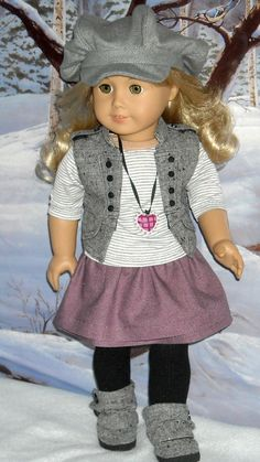 Wool Vest, Skirt, Tee Outfit for 18 inch Girls like Lanie, Saige  and  others. $70.00, via Etsy.
