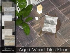 The Sims Resource: Aged Wood Tiles Floor by Rirann • Sims 4 Downloads