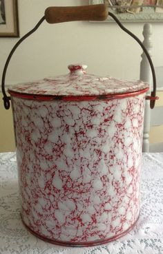 VINTAGE ENAMELWARE FRENCH RED  WHITE SWIRL, LARGE BUCKET PAIL WITH LID  HANDLE