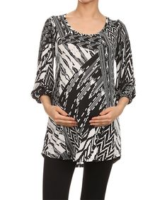 6c4a7d50bf1 Chris   Carol Maternity Black Abstract Maternity Scoop Neck Top