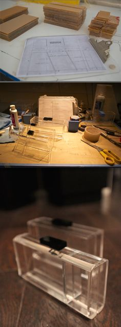 IN THE WORKSHOP: THE ILLUSIONIST HANDCRAFTED ACRYLIC LUCITE CLUTCH IN THE MAKING BY STEFANIE PHAN. stefaniephan.com