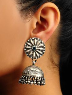 Gold And Silver Earrings Product Silver Jhumkas, Silver Jewellery Indian, Silver Earrings, Silver Jewelry, Silver Ring, 925 Silver, Sterling Silver, Fancy Jewellery, Hammered Silver
