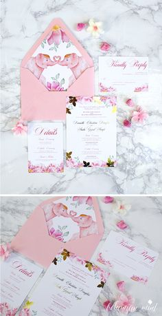 Blush and gold foil watercolor wedding invitation with elephant envelope liner | Bohemian Mint watercolor wedding invitations #indianwedding #indianweddinginvitations