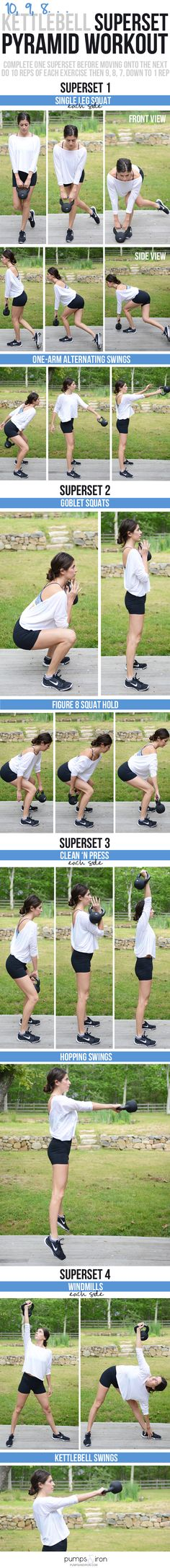 Kettlebell Superset Pyramid Workout -- this is a fun one! The structure makes the time fly by!