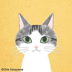 Cats works - Chie Katayama Illustration Yoga Illustration, Apple Watch Wallpaper, Cat Costumes, Cat Drawing, Bird Art, Cat Love, Cool Cats, Cat Art, Cute Animals