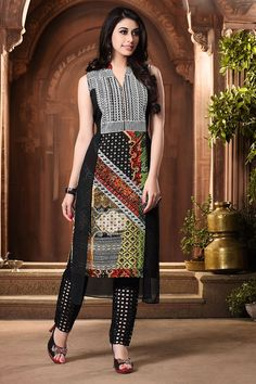 Picture of Edgy black kurti with multicolor weave